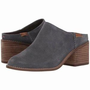 Tom's Leila Gray suede slip on block heel …